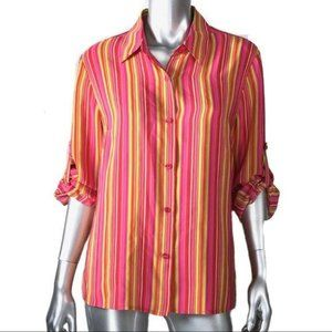 Evan Picone Silk Striped Pink Blouse 14